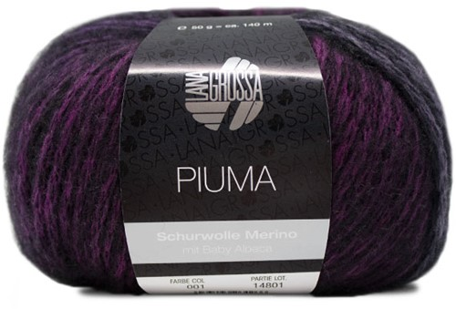 Lana Grossa Piuma 001 Purple / Pastel Pink / Black