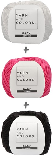 Yarn and Colors Black White and Bright Hat Haakpakket 035 Girly Pink