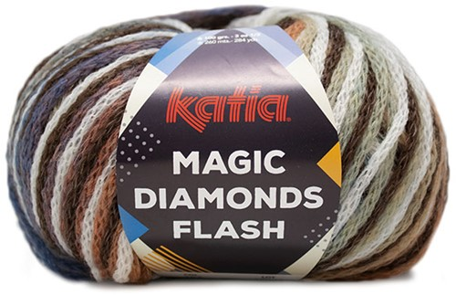 Katia Magic Diamonds Flash 104 Brown-Off-white-Rust-Blue