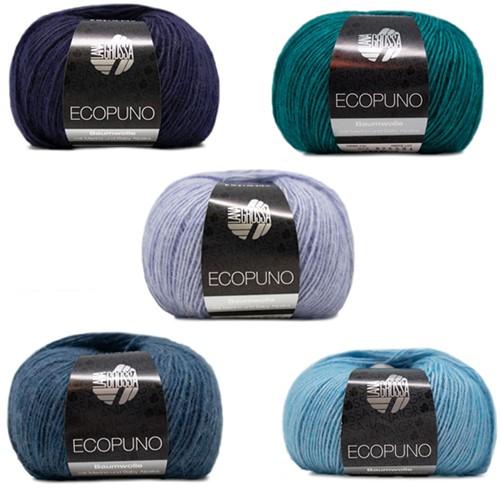 Ecopuno Kleurige Sjaal Breipakket 3 Marine / Petrol / Light Blue / Blue / Turquoise