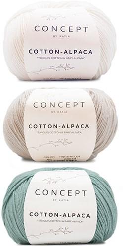 Cotton-Alpaca Sweater Breipakket 1 38/44 Beige Grey - White - Mint