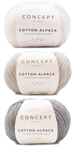 Cotton-Alpaca Sweater Breipakket 2 46/48 Beige Grey - White - Medium Grey