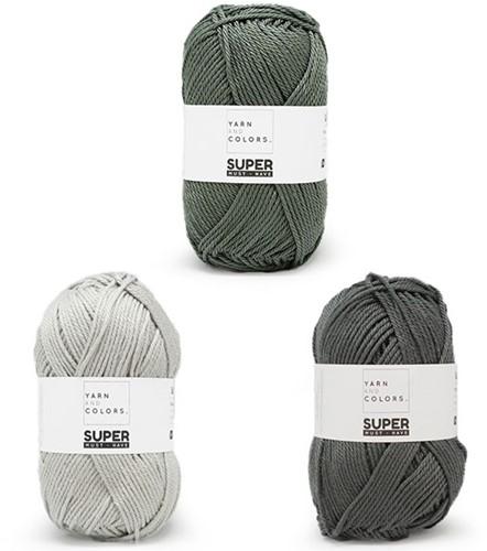 Super Must-Have Kussen Haakpakket 3 Graphite / Pea Green / Silver