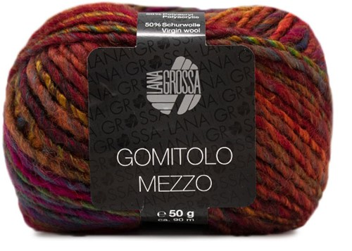 Lana Grossa Gomitolo Mezzo 116 Bordeaux / Orange / Yellow-Green / Petrol / Corn Yellow