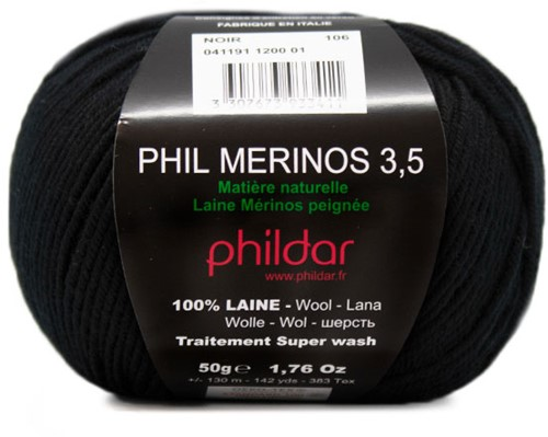 Phildar Phil Merinos 3.5 1200 Noir