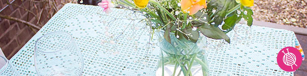 Tafelkleed haken met bloemen