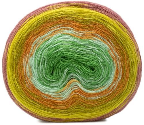 Creative Wool Degradé Super 6 Sjaal en Muts Breipakket 1 Berry-Green