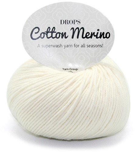 Drops Cotton Merino Uni Colour 1 Naturel