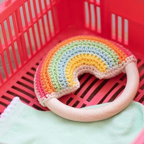Wolplein Regenboog Bijtring Haakpakket 1 Pastel