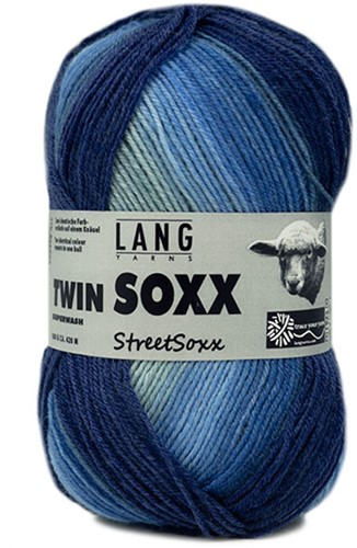 Lang Yarns Twin Soxx Streetsoxx 4-PLY 242 Blue Mix