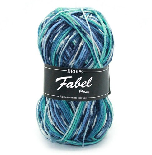 Drops Fabel Print 522 Turquoise/Blue