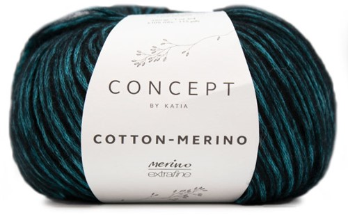 Katia Cotton-Merino 55 Black - Turquoise