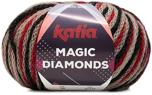 Katia Magic Diamonds 058 Beige / Red / Black