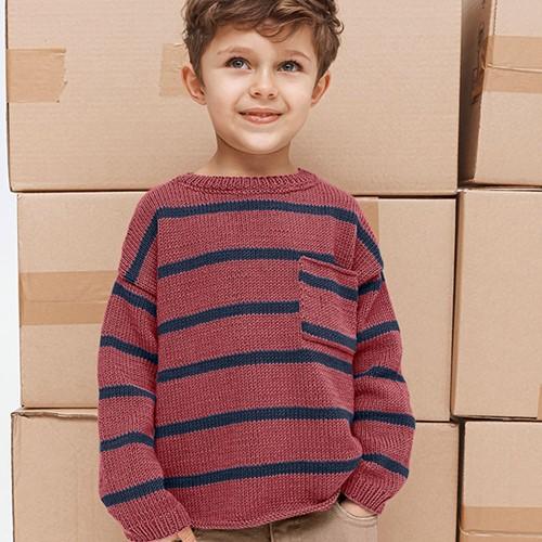 Phil Ecocoton Kindertrui Breipakket 2 12 jaar Bois de Rose / Jeans