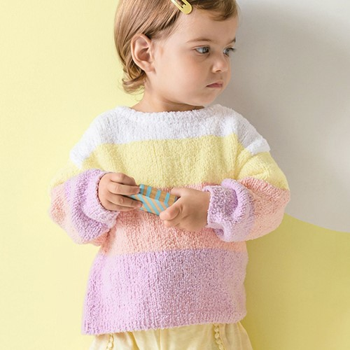 Phil Baby Doll Kindertrui Breipakket 1 12 maanden Blanc / Jeans / Églantine / Marine