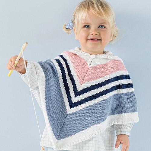 Phil Love Cotton Kinderponcho Breipakket 1 4 jaar Blanc / Jeans / Églantine / Marine