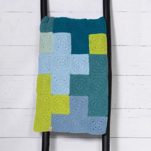 Durable Criss- Cross Blanket Haakpakket Blue/Grey
