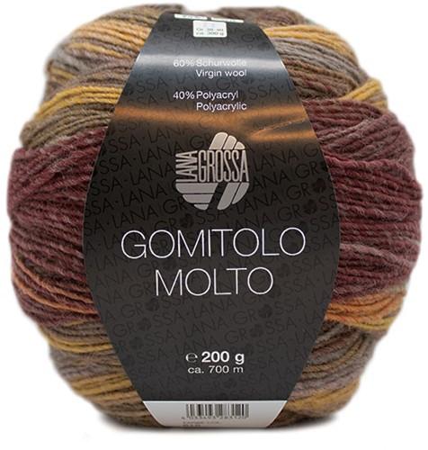 Lana Grossa Gomitolo Molto 615 Gray green/sage/gray brown/brown/khaki/mud
