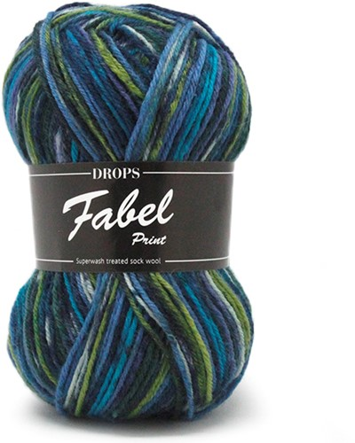 Drops Fabel Print 677 Green-turquoise