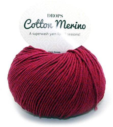 Drops Cotton Merino Uni Colour 7 Wijnrood