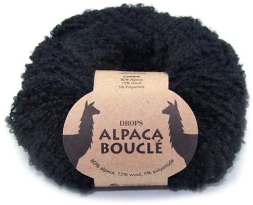 Drops Alpaca Bouclé Uni Colour 8903 Zwart