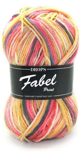Drops Fabel Print 903 Yellow/Pink