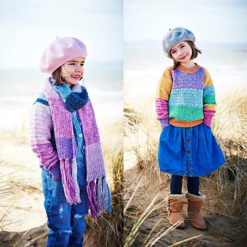 Breipatroon Stylecraft Batik Swirl DK No. 9538 Kinder trui, vest en sjaal
