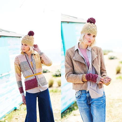 Breipatroon Stylecraft Batik Swirl DK No. 9672 Vest, muts en polswarmers