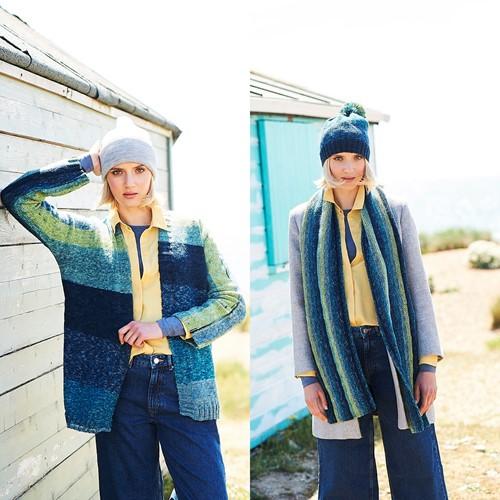 Breipatroon Stylecraft Batik Swirl DK No. 9673 Vest, sjaal en muts