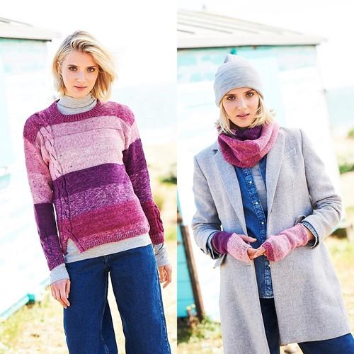 Breipatroon Stylecraft Batik Swirl DK No. 9674 Trui, sjaal en polswarmers