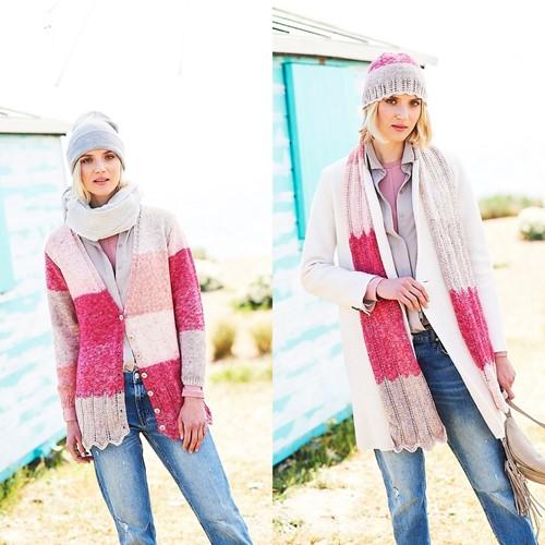 Breipatroon Stylecraft Batik Swirl DK No. 9675 Vest, sjaal en muts