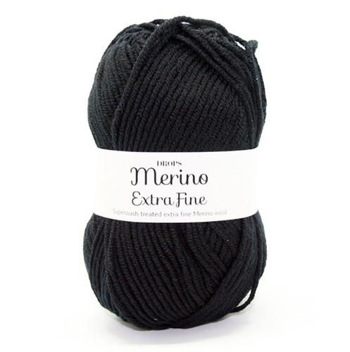Drops Merino Extra Fine Uni Colour 02 Black