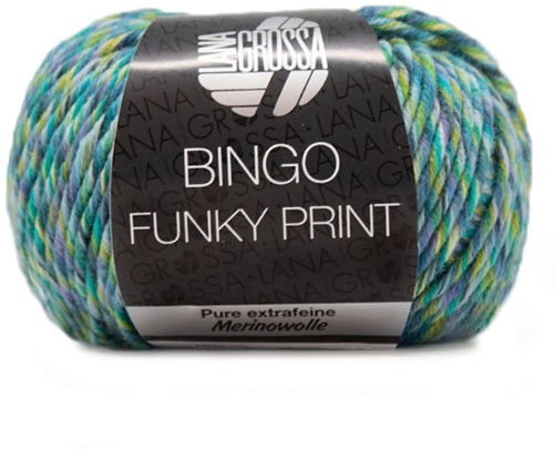 Lana Grossa Bingo Funky Print 407 Blue / Petrol / Purple / Green