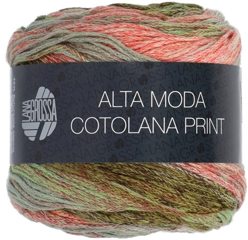 Lana Grossa Alta Moda Cotolana Print 102 Dark olive / olive / gray green / gray / burgundy / salmon