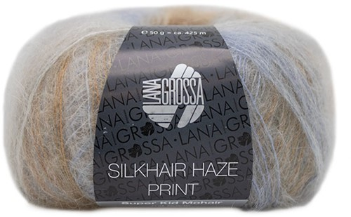 Lana Grossa Silkhair Haze Print 1209 Silver / Light Gray / Light Blue / Chocolate Brown