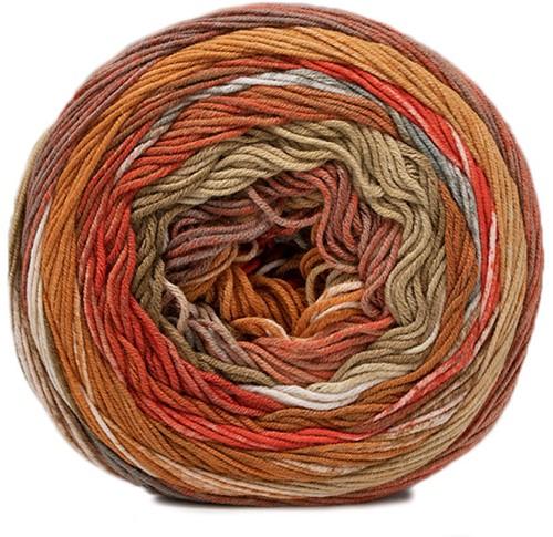Lana Grossa Gomitolo Denim Inca 158 Orange / Gold-Brown / Nature / Grey / White / Beige