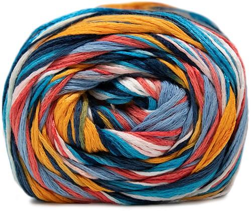 Lana Grossa Gomitolo Doppio 252 Blue / White / Yellow / Orange / Salmon / Light Red