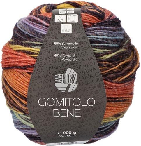 Lana Grossa Gomitolo Bene 751 Salmon/black brown/yellow/khaki/gray blue