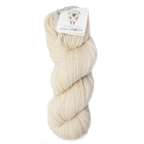 Lana Grossa Slow Wool Lino 001 Raw White