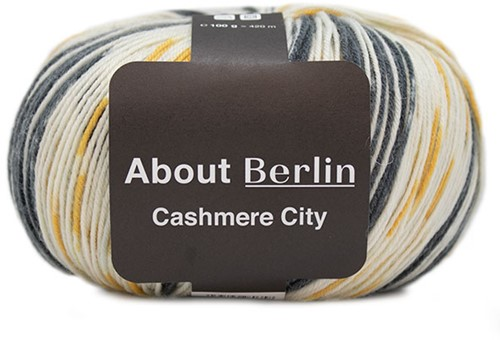 Lana Grossa About Berlin Cashmere City 861 Dark grey / White / Golden yellow