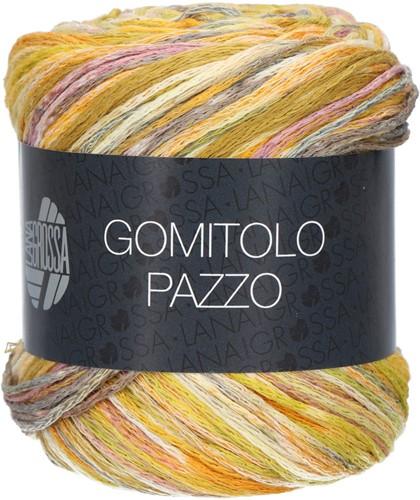 Lana Grossa Gomitolo Pazzo 812 Olive / mustard yellow / purple colored