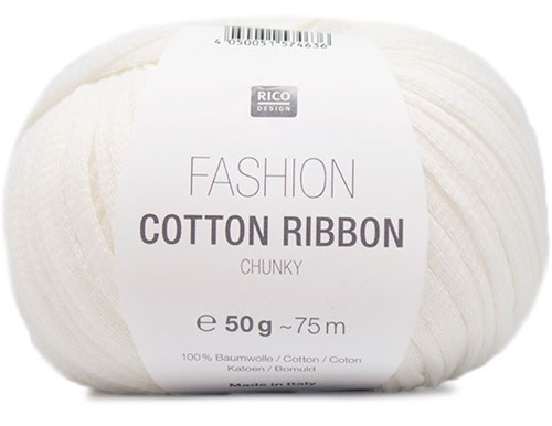 Fashion Cotton Ribbon Chunky Ballon Trui Breipakket 3 42/44 White