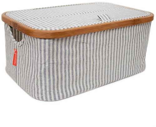 Opberg Box Opvouwbaar Canvas en Bamboe Grijs Gestreept