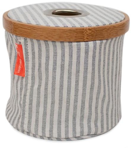 Wol-Dispenser Opvouwbaar Canvas en Bamboe S Grijs Gestreept