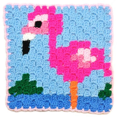 Haakpatroon Corner to corner flamingo