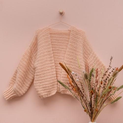 Yarn and Colors Cloud Cardigan Crochet Haakpakket L/XL 101 Rosé