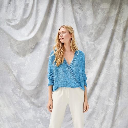 Alessia Overslag Trui Breipakket 1 36/38 Blue / turquoise / silver gray