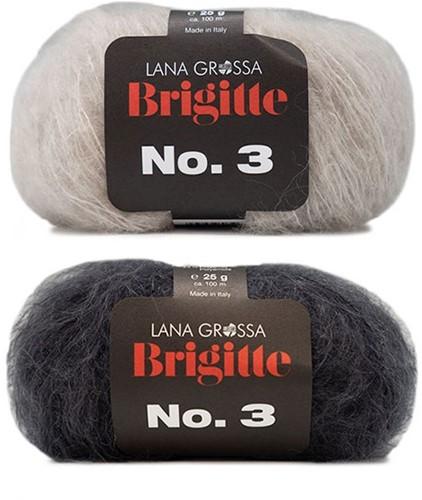 Brigitte no. 3 Omslagdoek Breipakket 1 Anthracite/Beige