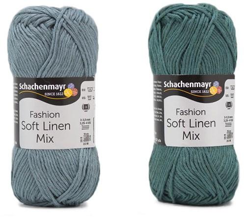 Soft Linen Mix Kalea Zomervestje Haakpakket 2 40/42  Ice Blue / Green