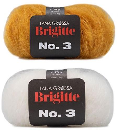 Brigitte no. 3 Omslagdoek Breipakket 2 Curry/White
